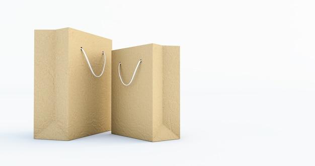 3d render van paper bag template met handvat touw, geïsoleerd op een witte achtergrond
