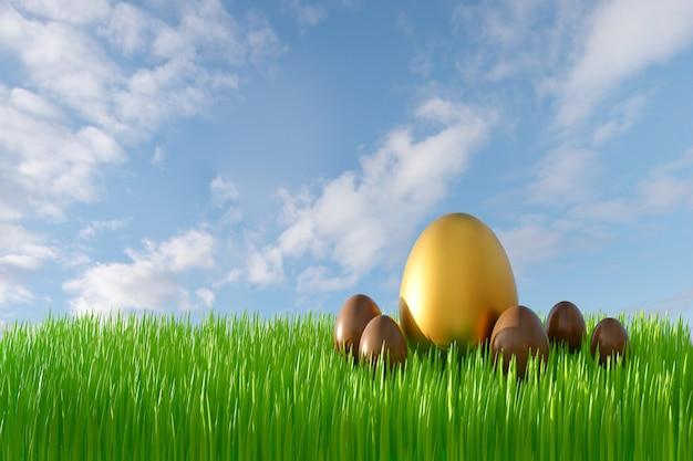 3d render van pasen-wenskaart met groen gras, blauwe lucht, gouden en chocolade-eieren.