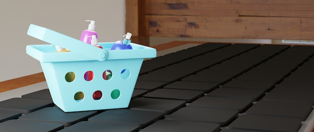 3d render van producten in het winkelmandje op het toetsenbord. zakelijk online mobiel en e-commerce.
