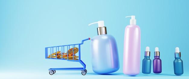 3d render van producten winkelen. online winkelen en e-commerce op web bedrijfsconcept. veilige online betalingstransactie met smartphone.