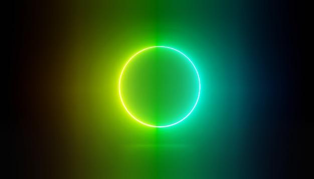 3d render van rgb-neonlicht op donkere achtergrond laserlijnen worden 's nachts weergegeven