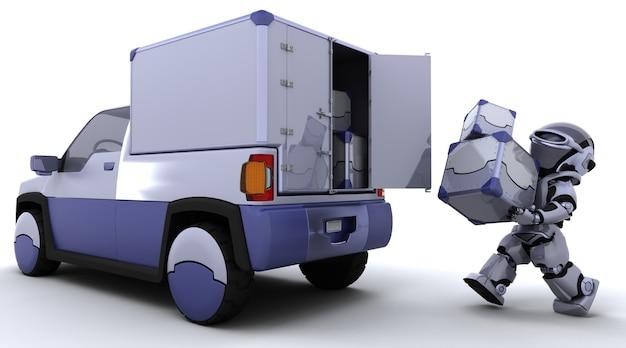 3d render van robot laden dozen in de achterkant van een vrachtwagen