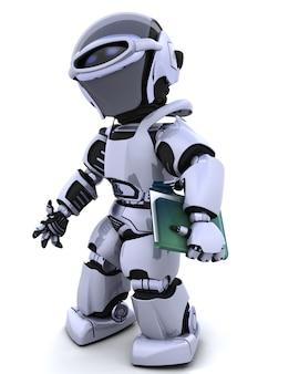 3d render van robot met document en map