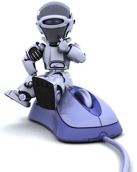 3d render van robot met een computermuis