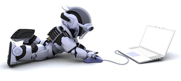 3d render van robot met een laptop en muis