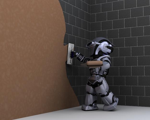 3d render van robot robot aannemer stukadoors een muur
