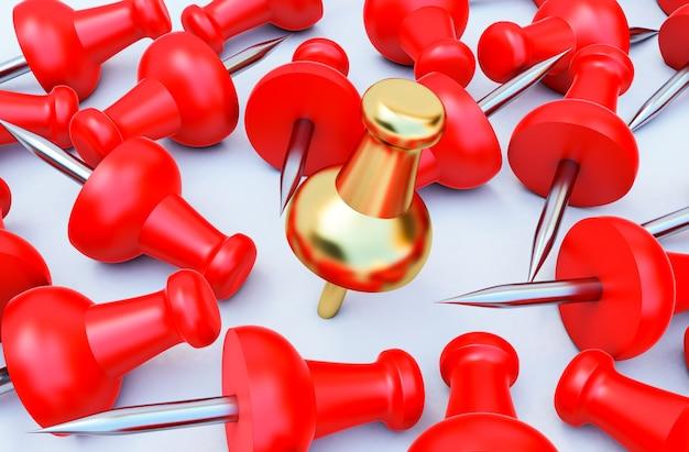 3d render van rode en gouden punaise, realistische 3d push pins vastgemaakt in verschillende hoeken.