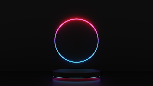 3d render van roze blauw licht voetstuk stappen met cirkel geïsoleerd op een donkere achtergrond, abstract minimaal concept, lege ruimte, eenvoudig schoon ontwerp