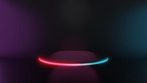 3d render van roze blauw licht voetstuk stappen op donkere achtergrond, abstract minimaal concept, lege ruimte, eenvoudig schoon ontwerp