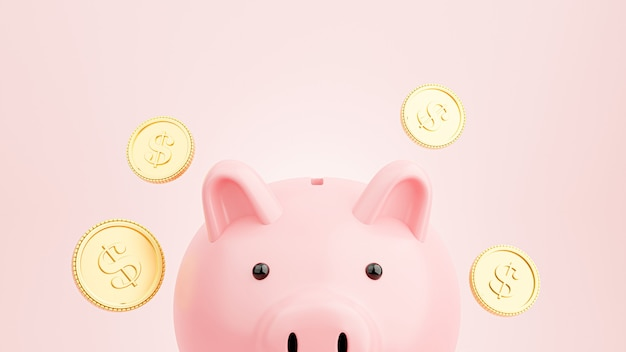 3d render van roze spaarvarken met drijvende gouden munten om geld te besparen concept