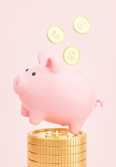 3d render van roze spaarvarken met gouden munten die stapelen om geld te besparen concept