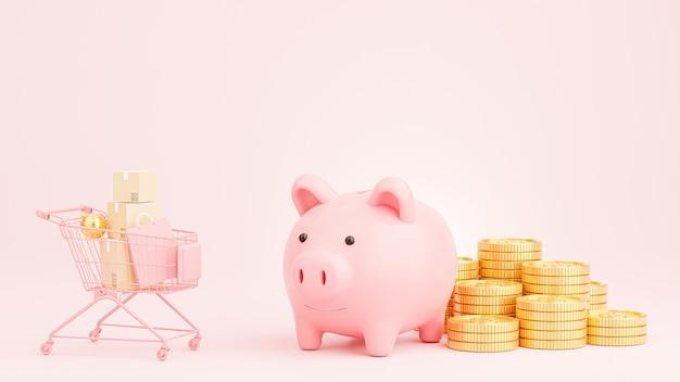 3d render van roze spaarvarken met gouden munten stapelen voor winkelconcept