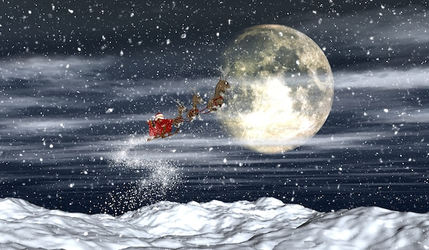 3d render van santa vliegen door de nachtelijke hemel