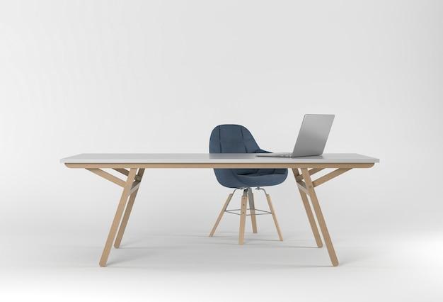 3d render van studio met een bureau, stoel en laptop.