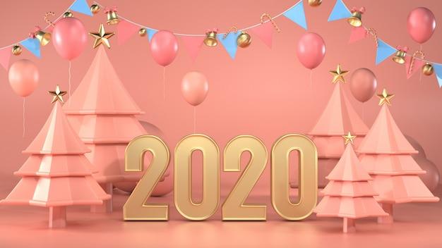 3d render van tekst 2020 versieren met kerstbomen en slingers