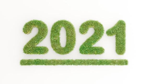 3d render van tekst groen gras op gelukkig nieuw jaar 2021