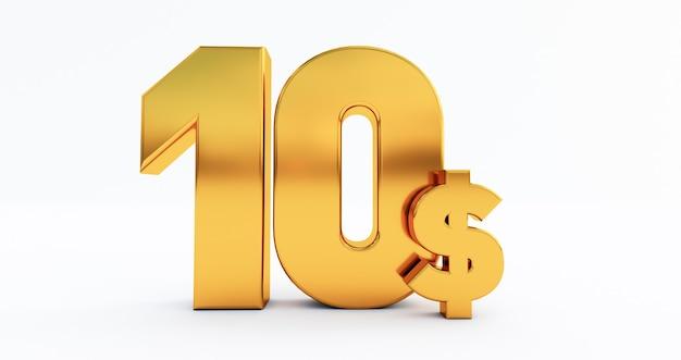 3d render van tien dollar geïsoleerd op een witte achtergrond, usa dollar $, gouden tien dollar $