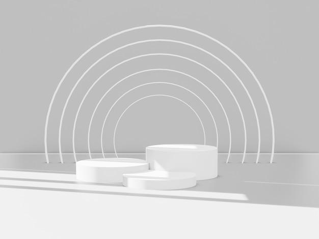 3d render van totaal witte podia voor producten. winnaar platform.