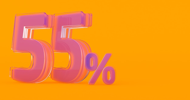 3d render van transparant glas procentteken vijfenvijftig procent 55%, 55% glas vijfenvijftig procent op een gekleurde achtergrond.