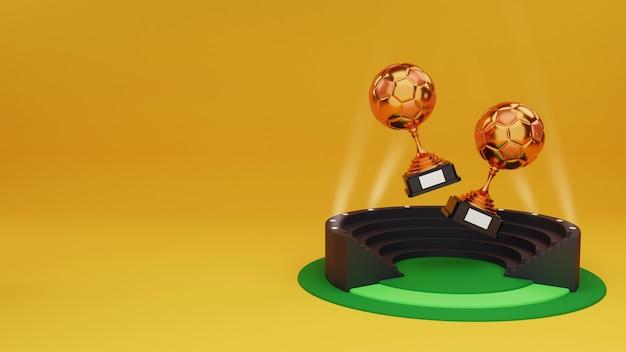 3d render van twee bronzen soccer trophy cup over stadion stoel achtergrond en kopie ruimte.