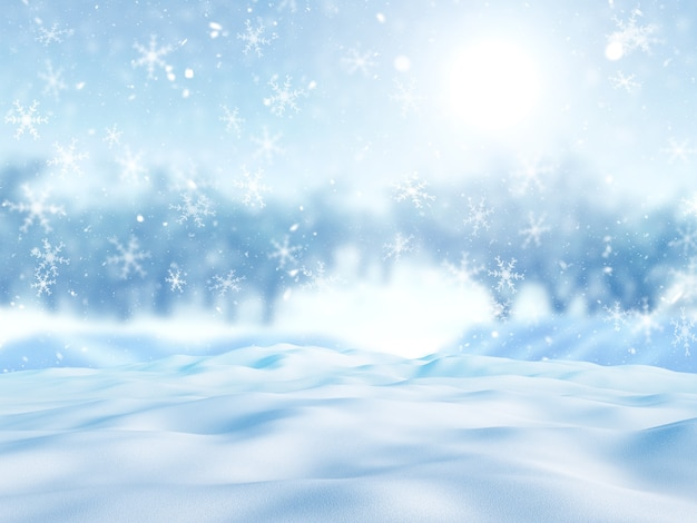 3d render van vallende sneeuw tegen een besneeuwd boomlandschap