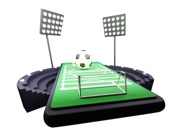 3d render van voetbalveld op scherm van smartphone met stadionlichten op witte achtergrond.