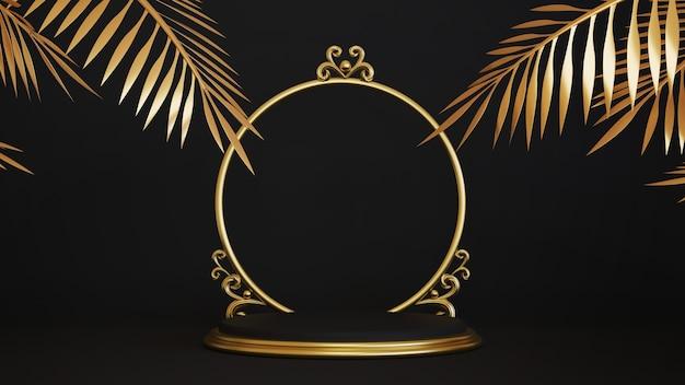 3d render van voetstuk met gouden frame en gouden palmbladeren geïsoleerd op zwarte achtergrond