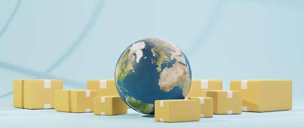 3d render van wereld en pakketdoos. zakelijk online mobiel en e-commerce.