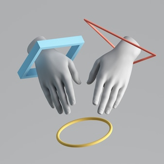 3d render van witte abstracte kunstmatige handen met zwevende geometrische vormen.