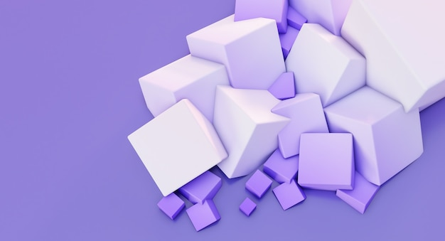 3d render van witte chaotische kubussen muur achtergrond.