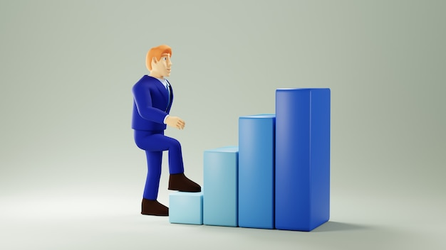 3d render van zakenman en staafdiagram. zakelijk online mobiel en e-commerce.