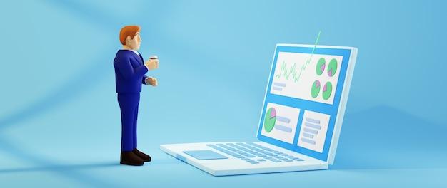 3d render van zakenman gebruik notebook. zaken online en e-commerce.