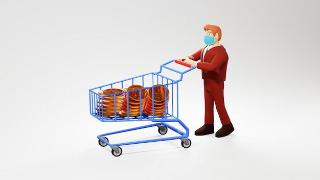 3d render van zakenman gebruik winkelwagentje met geld.