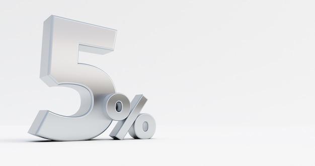 3d render van zilver nummer vijf procent geïsoleerd op een witte achtergrond.