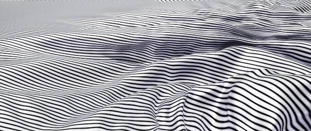 3d render van zwart-wit doek