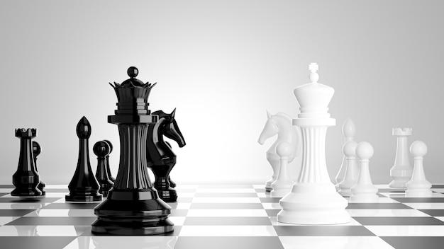 3d render van zwart-wit schaken aan boord met zakelijk succesconcept