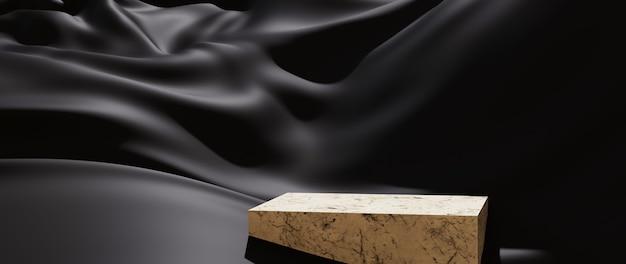 3d render van zwarte doek en podium. abstracte kunst mode achtergrond. scene podium platform showcase, product, presentatie, cosmetica op podium.