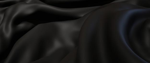3d render van zwarte en donkere doek