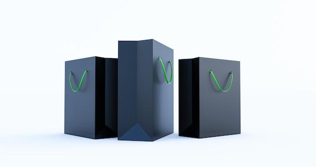 3d render van zwarte papieren zak sjabloon met groen handvat touw, geïsoleerd op een witte achtergrond
