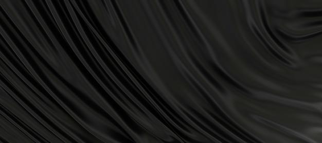 3d render van zwarte zijde stof achtergrond., textuur achtergrond, diep zwart satijn