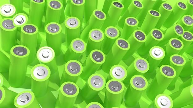 3d render veel groene batterijen op een groene achtergrond