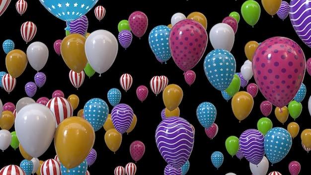 3d render veelkleurige ballonnen op een zwarte achtergrond