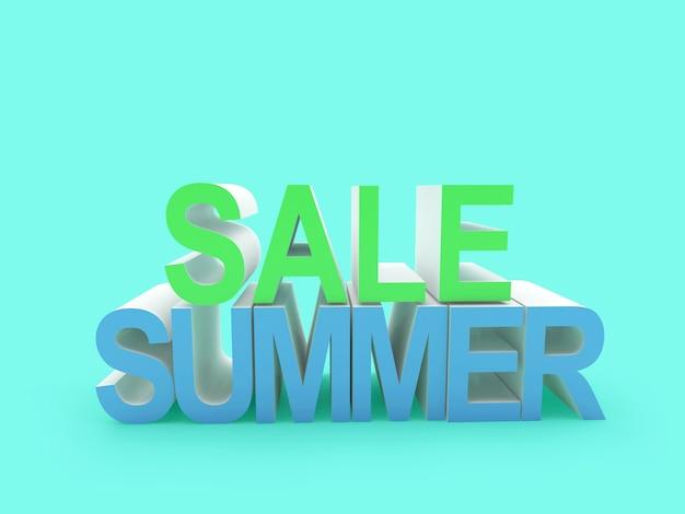 3d render verkoop zomer tekst in groen en blauw geïsoleerd op lichtblauwe background
