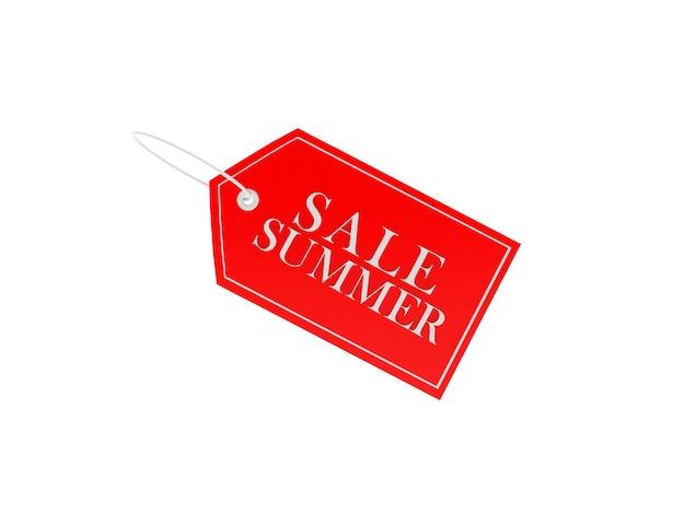3d render verkoop zomer tekst op rood prijskaartje geïsoleerd op een witte achtergrond