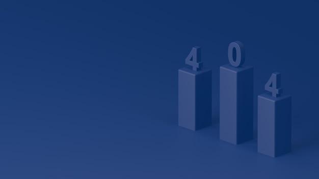 3d render vier nul vier website fout blauwe grafieken met getallen erop op blauwe achtergrond