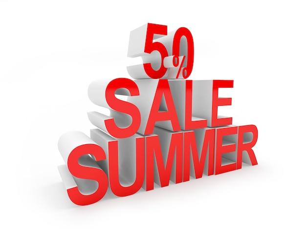 3d render vijftig procent verkoop zomer rode tekst geïsoleerd op een witte achtergrond