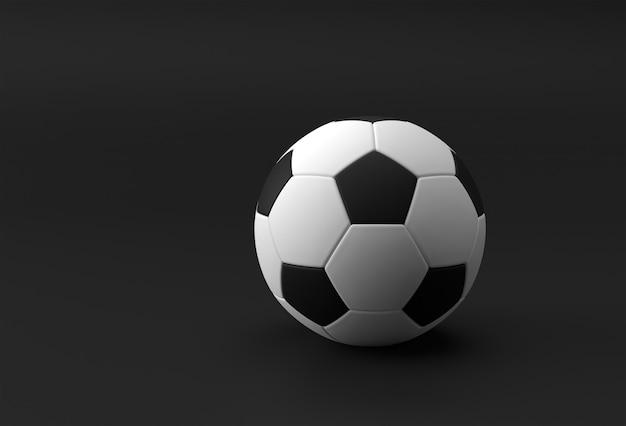 3d render voetbal illustratie, voetbal met zwarte achtergrond