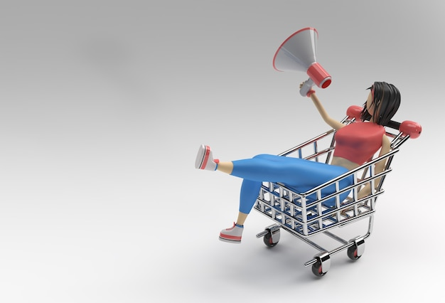 3d render vrouw met mega telefoon winkelwagen pictogram afbeelding ontwerp.