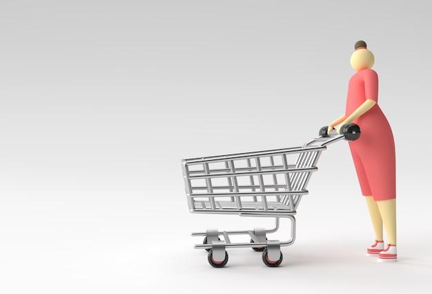 3d render vrouw met winkelwagen pictogram illustratie ontwerp.