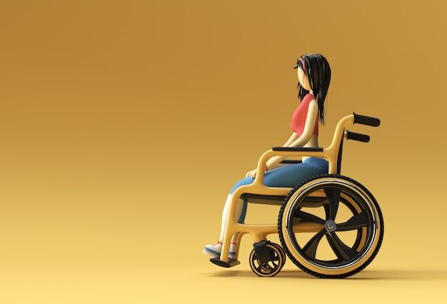 3d render vrouw zittend op rolstoel 3d illustratie design.